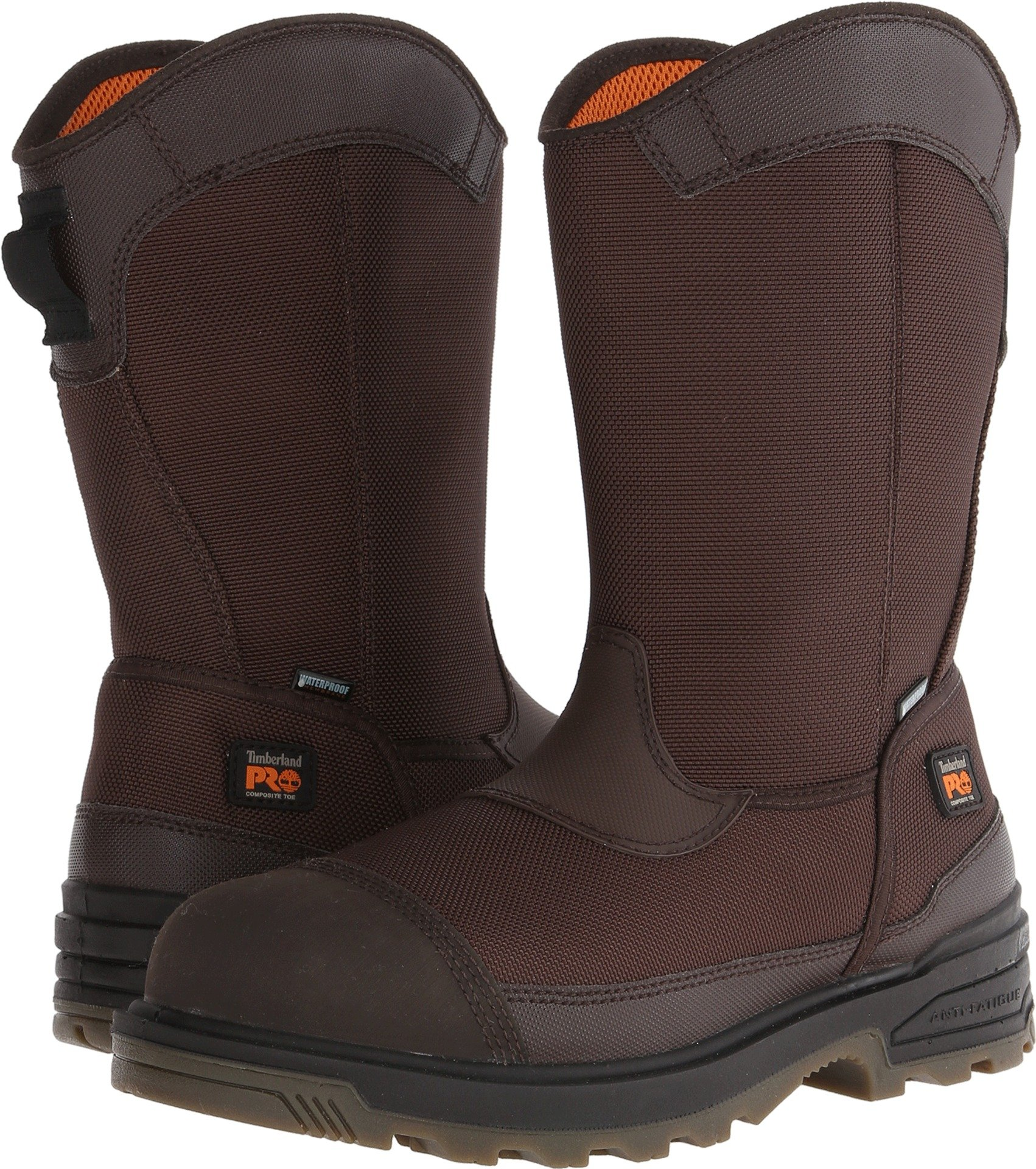 Timberland PRO Men's Mortar Pull-On CSA Comp Toe Waterproof Work and Hunt Boot, Brown Ballistic Nylon, 7.5 W US