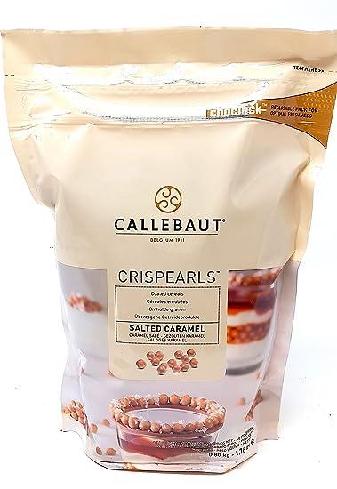 Callebaut Crispearls Caramelo Salado - Perlas de Galleta Tostada (cereales) bañadas con Chocolate con leche con sabor a Caramelo Salado 800g