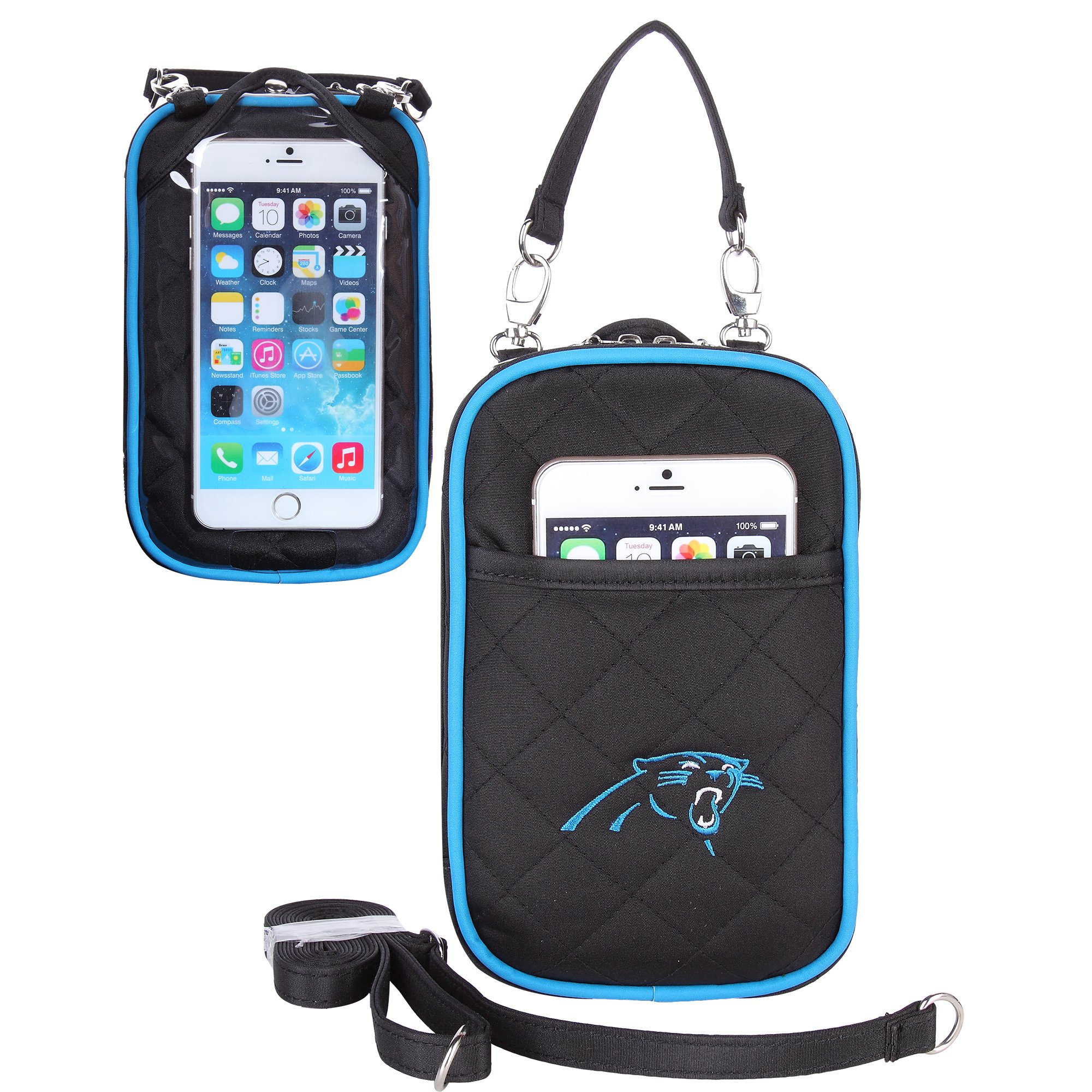 Charm14 NFL Carolina Panthers Women's Crossbody Bag Quilt-Embroidered Logo-Fits All Phones by Little Earth