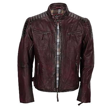 Chaqueta de piel suave para hombre, corte ajustado, chaqueta estilo biker con cremallera, retro, color marrón lavado