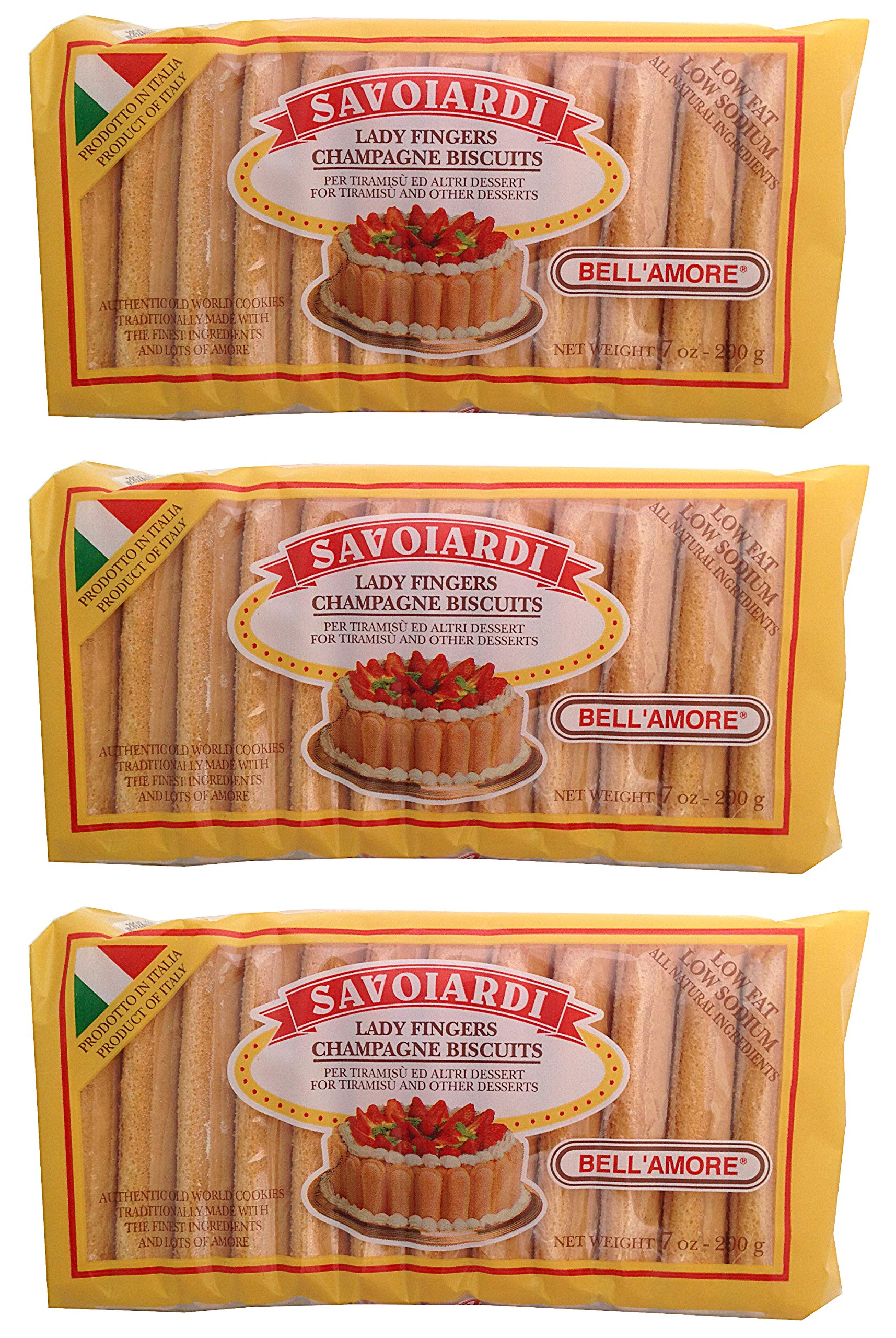 Savoiardi, Lady Fingers Champagne Biscuits, 7 oz (Pack of 3)