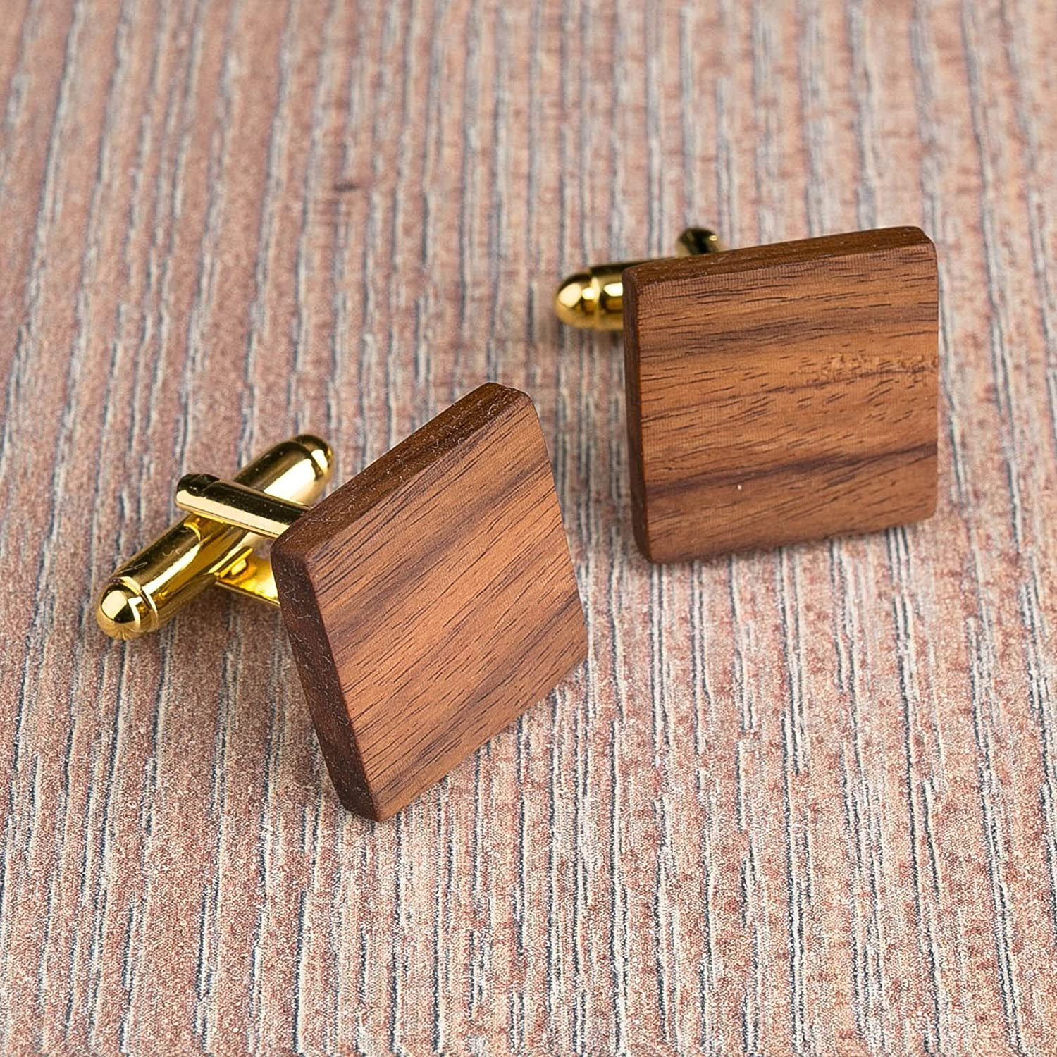 Free shipping: Rosewood Wood cufflinks. Brown Square cufflinks. Custom personalized initial monogram cufflinks. Natural wood engraved jewelry for men. Boss present. 4 base color. Wedding groomsmen groom gifts