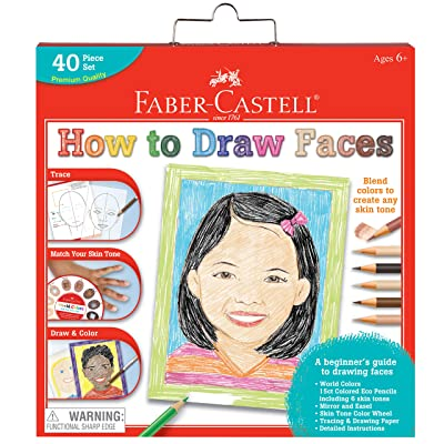 Faber-Castell World Colors How to Draw Faces Kit - Learn to Draw Portraits for Beginners - 40 Piece Skin Tone Coloring Pencils and Paper Art Set: Toys & Games