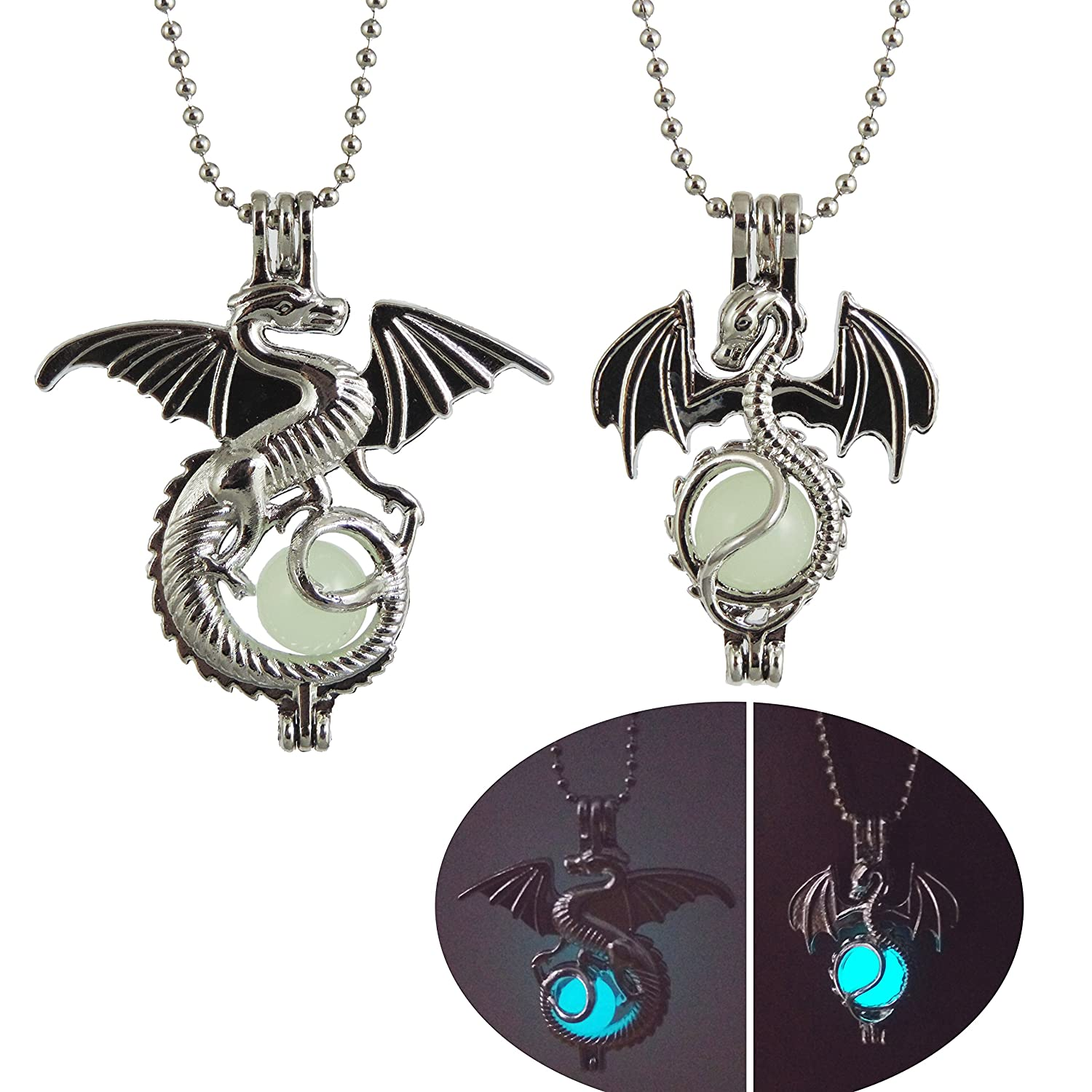 2 Pcs Mix Glowing Dragon Luminous Beads Pendant Necklace Alloy Jewelry Blue Green Linght 18 Inches dongxin 4336820584