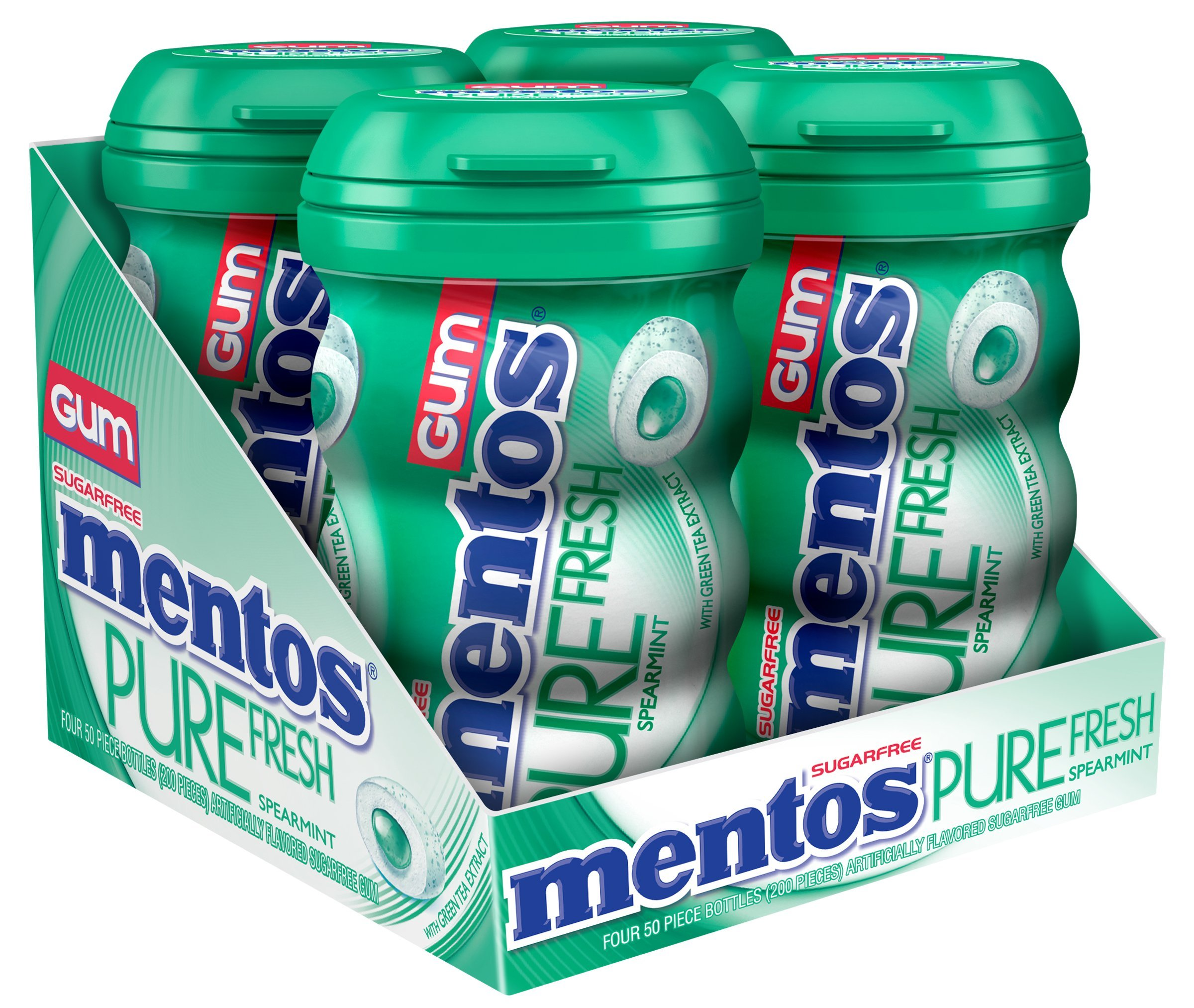 Mentos Pure Fresh Sugar-Free Chewing Gum with Xylitol, Spearmint, 50 Piece Bottle (Pack of 4)