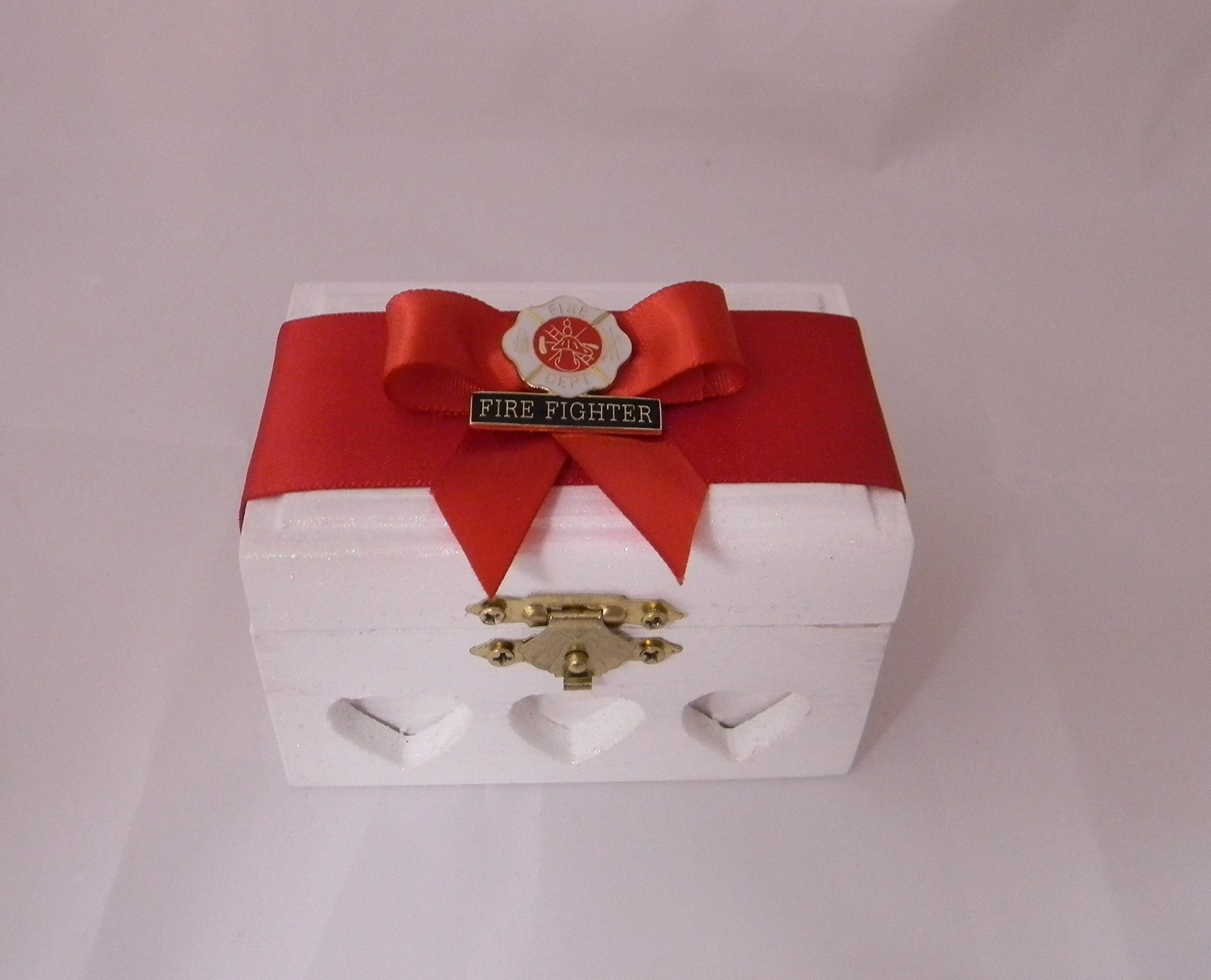 Wedding Ceremony Party Fireman Firefighter ring bearer pillow Box