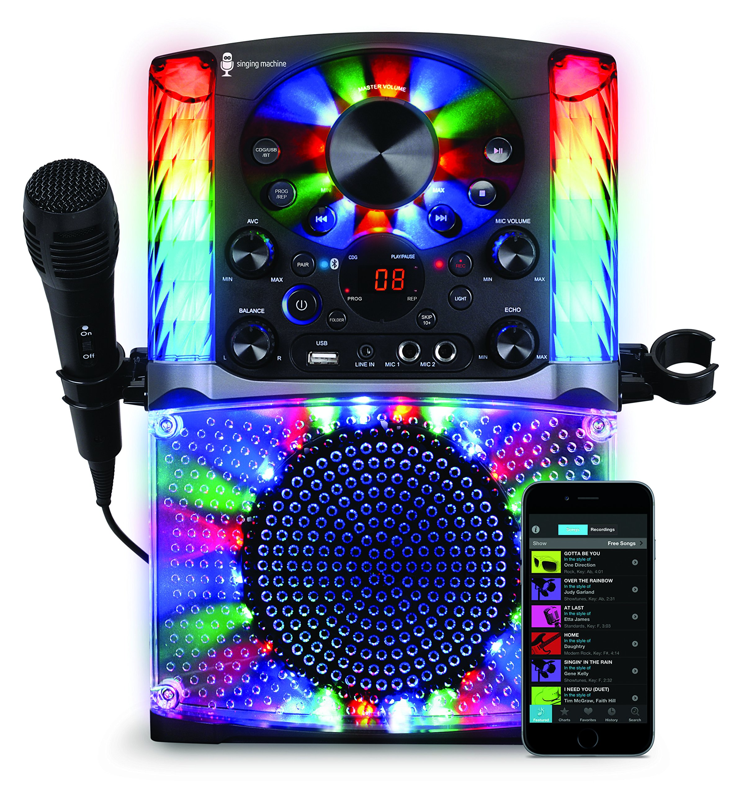 Singing Machine SML625BTBK Bluetooth CD+G Karaoke System Black by Singing Machine (Image #1)