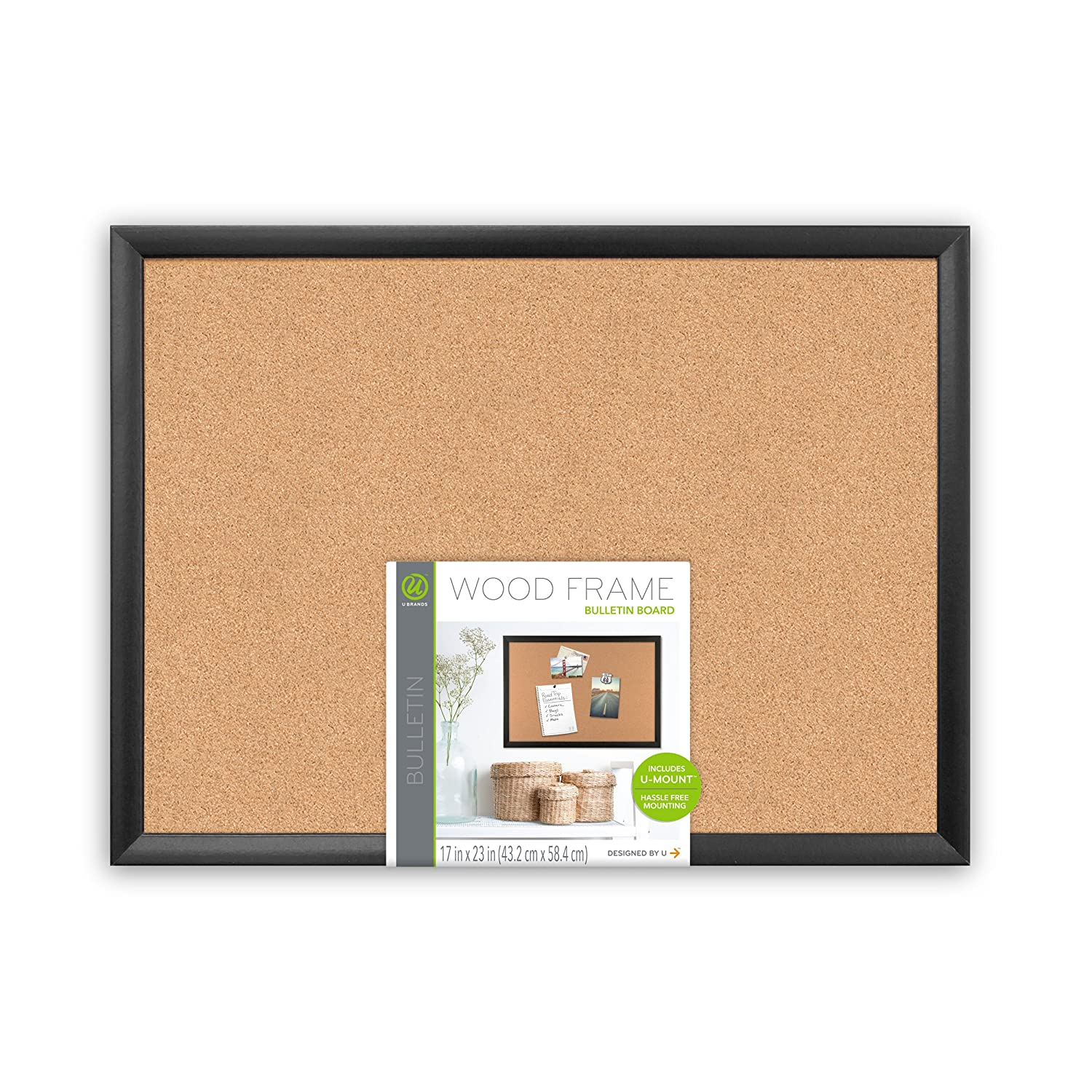 Amazon.com : U Brands Cork Bulletin Board, 23 x 17 Inches, Black Wood Frame  : Office Products