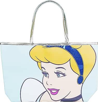 Disney Cinderella Princess Blue Glitter Tote Handbag for Women