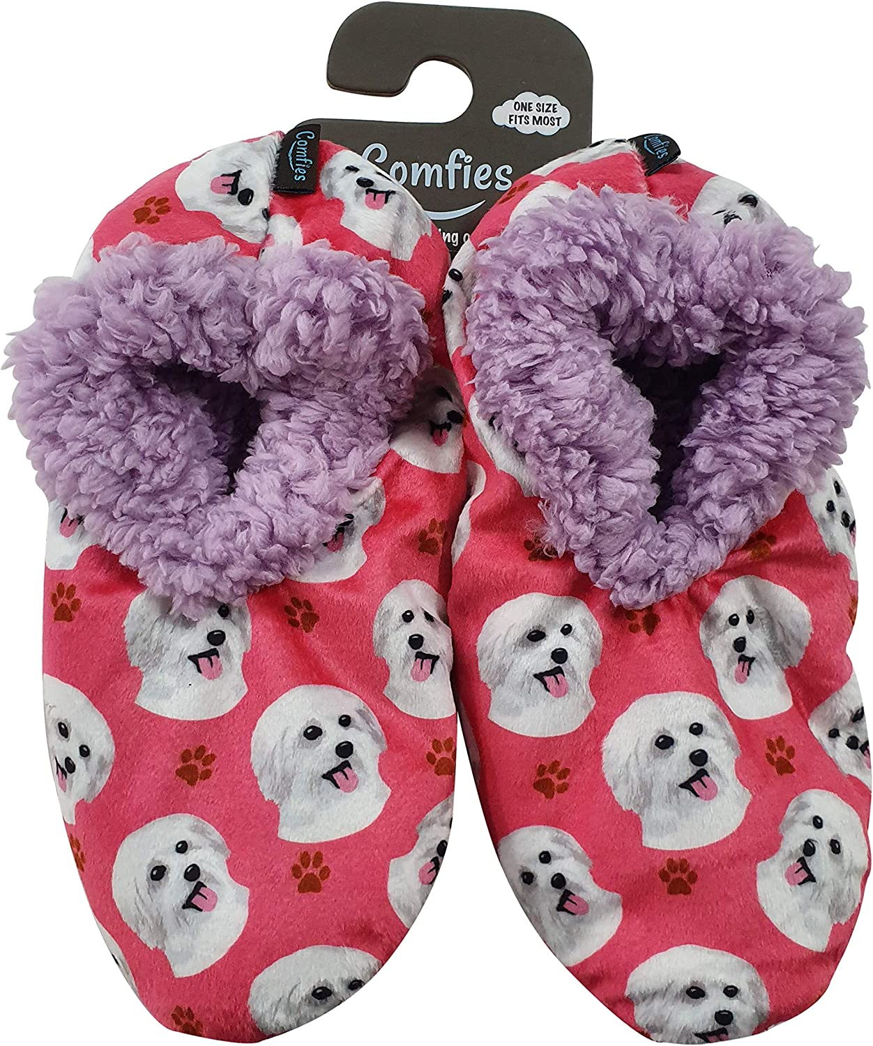 Maltese Super Soft Women's Slippers - One Size Fits Most - Cozy House Slippers - Non Skid Bottom - perfect for Maltese gifts