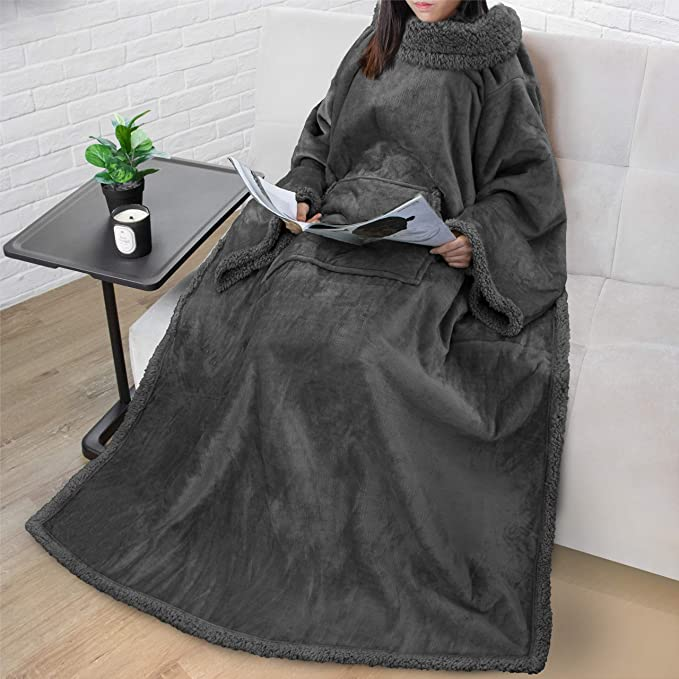 Premium Sherpa Fleece Blanket With Sleeves For Adult Women Men Cozy Warm Super Soft Plush Wearable Throw For Couch Sofa Lightweight Microfiber Charcoal Kitchen Dining