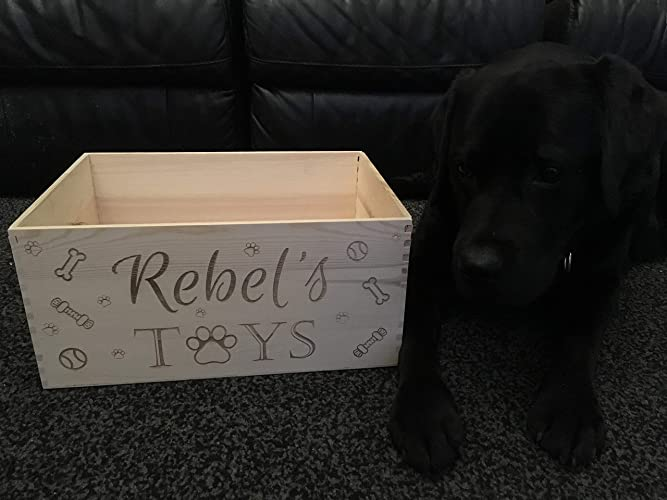 Personalised Handmade Dog Toy Crate Wooden Engraved Box Paws