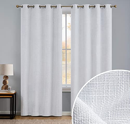 HLC.ME Modena Textured Faux Linen 100 Complete Blackout Thermal Insulated Window Curtain Grommet Panels