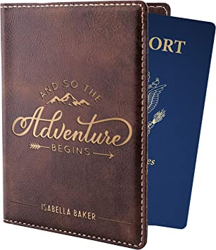 Travelers Gift Ideas See You Later Travelers Gifts 2-Pack Laser Engraved Leatherette Passport Holder