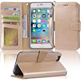 """Arae wallet case for iPhone 6s Plus / iPhone 6 plus [Kickstand Feature] PU leather with ID&Credit Card Pockets For Iphone 6 Plus / 6S Plus 5.5"""" (not for 6/6s) (Champaign Gold)"""