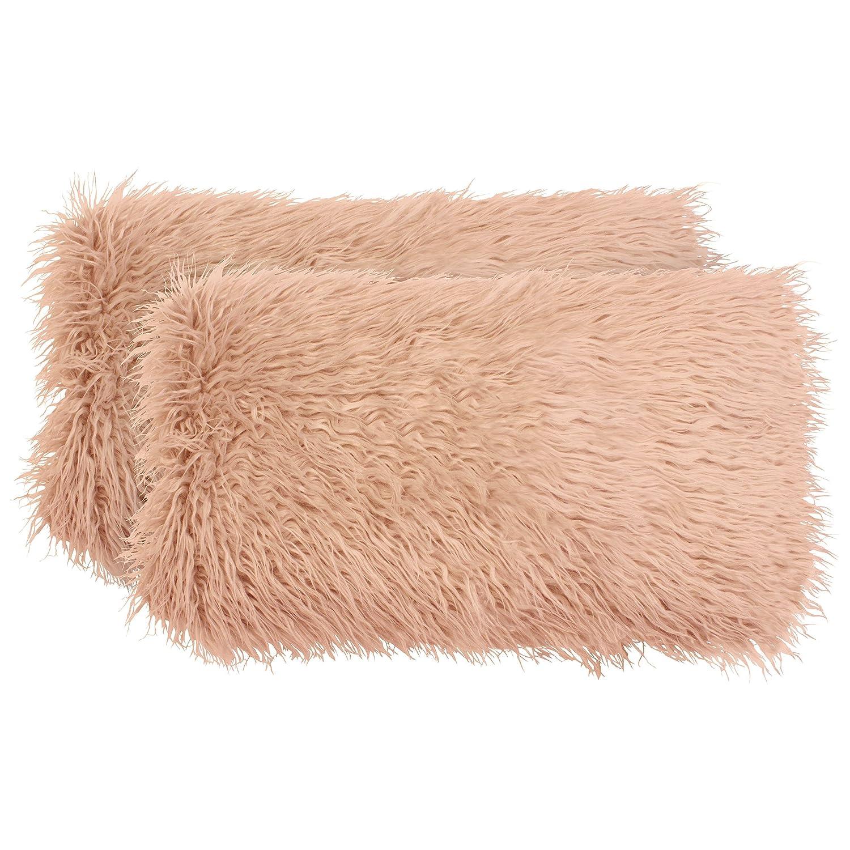 2 Piece YMP008750 Boho Living Mongolian Faux Fur Decorative Lumbar Pillow Set 14 x 24 White YMF Carpets Inc