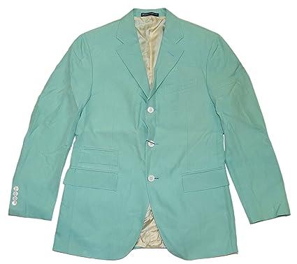 Polo Ralph Lauren Mens Blazer Sport Coat Jacket Silk Teal Green Italy 38R