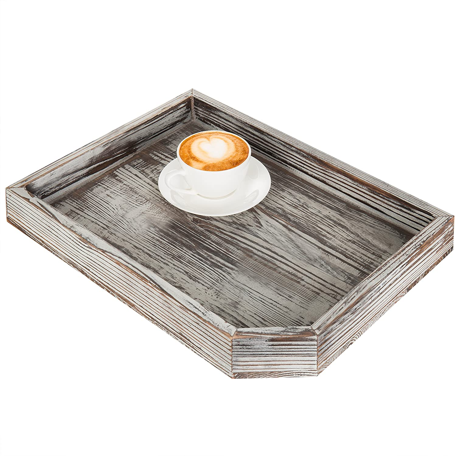 MyGift Vintage Distressed Brown Wood Breakfast Coffee Table Tray, Office Desktop File, Mail, Document Holder