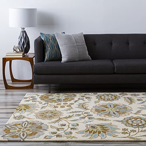 Surya Athena ATH-5063 Transitional Hand Tufted 100 Wool Ivory 9 x 12 Floral Area Rug