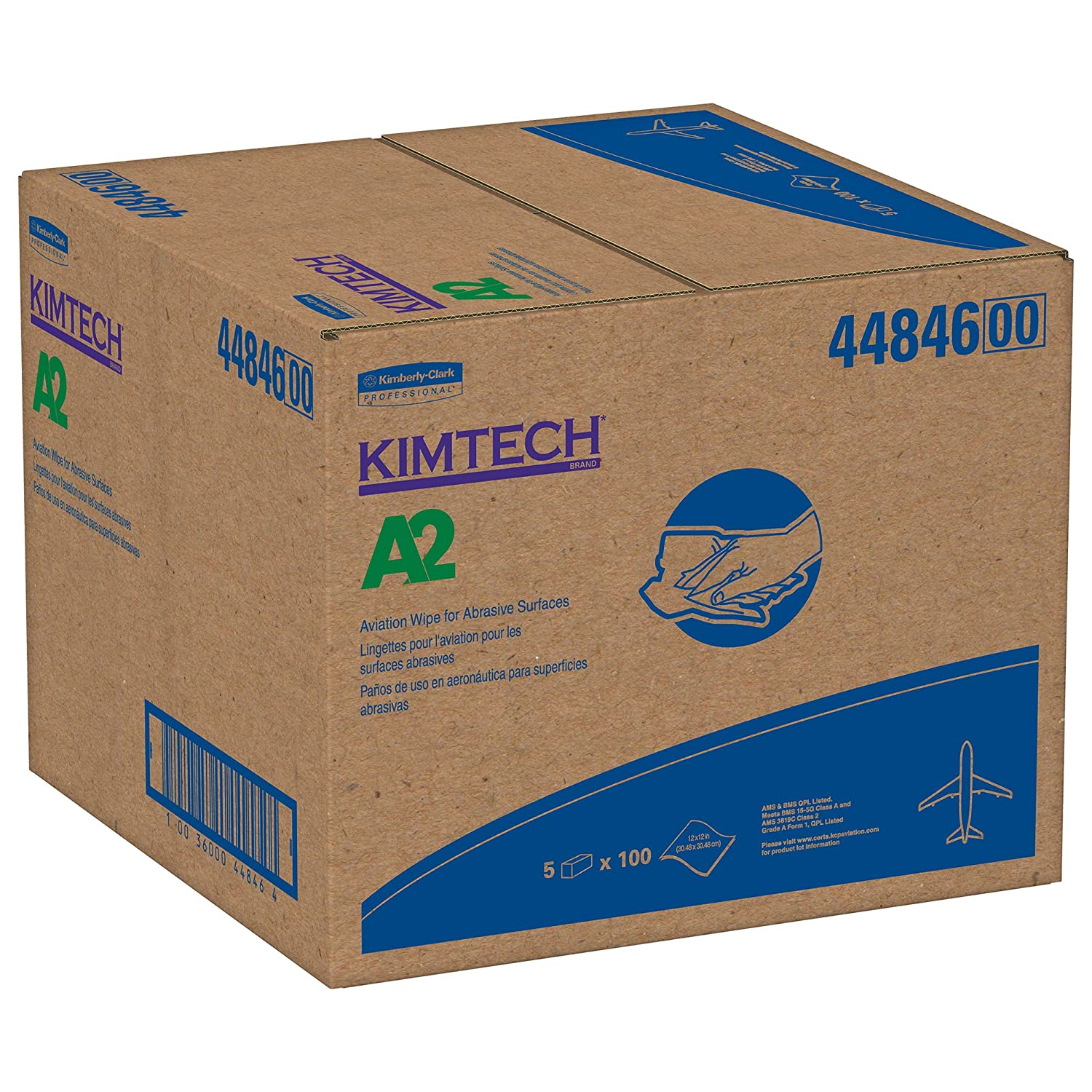 "Kimtech A2 Aviation Wipes 44846 Aerospace Abrasive Surface Cloths Solvent Wipers Flat Box 12"" x 12"" White 100 Sheets Pack 5 Packs 500 Sheets Case"