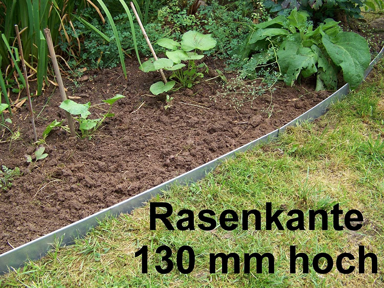 Rasenkanten Metall, Beeteinfassung Stahlblech feuerverzinkt, 130 mm hoch, 18er Set