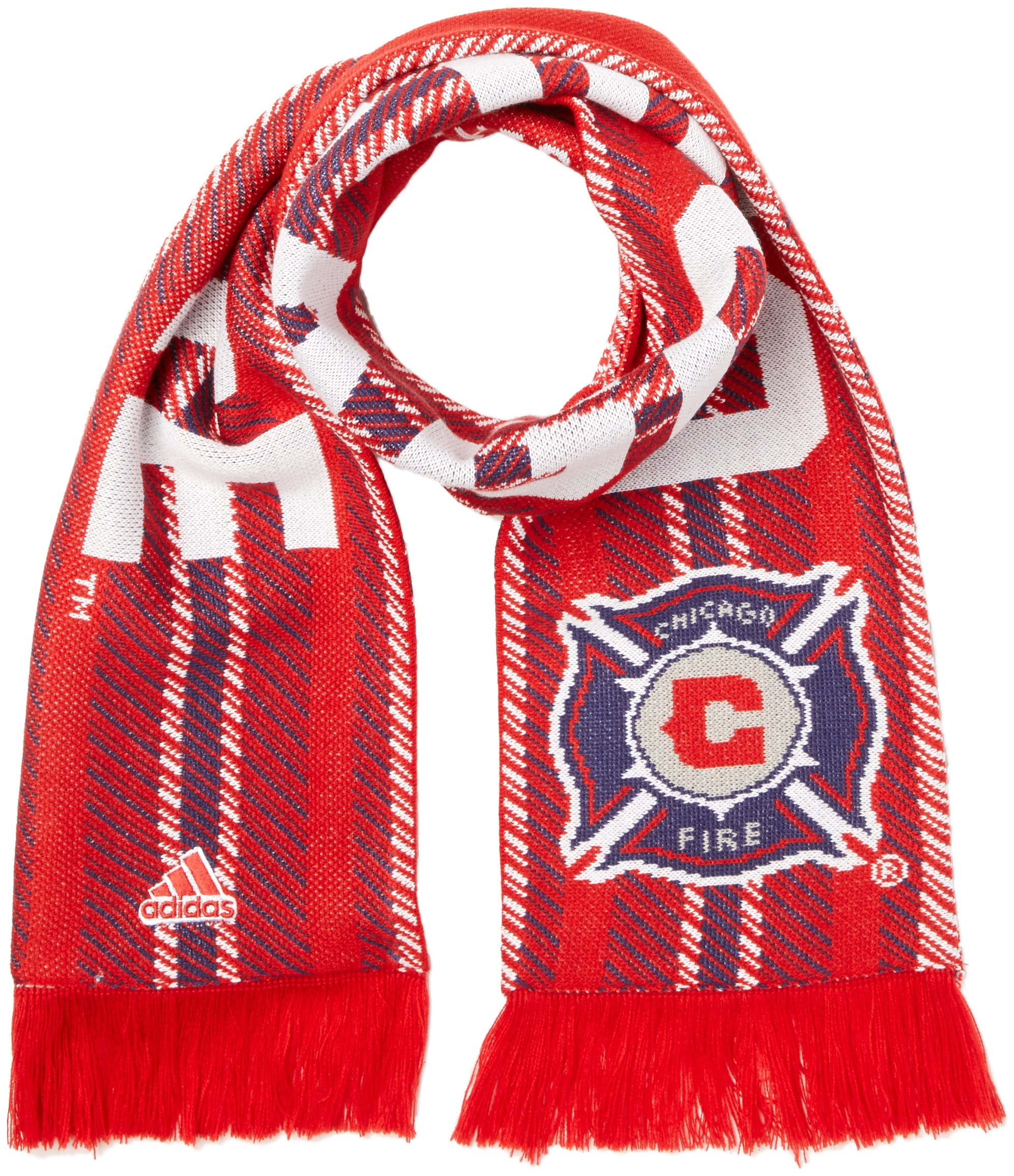 adidas MLS Chicago Fire Jacquard Scarf with Block Name, One Size, Red