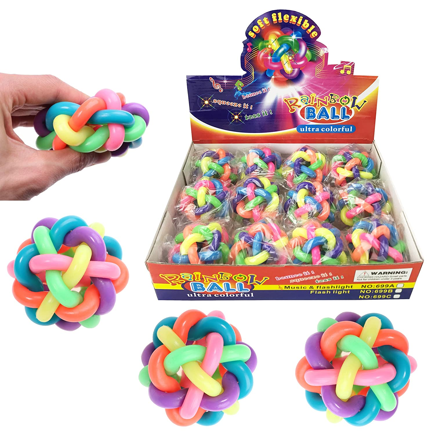 Set of 12 Bouncy Soft Fidget Balls - Stress Relief Rainbow Balls Squeeze Toys for Kids and Adults (6 Colors)