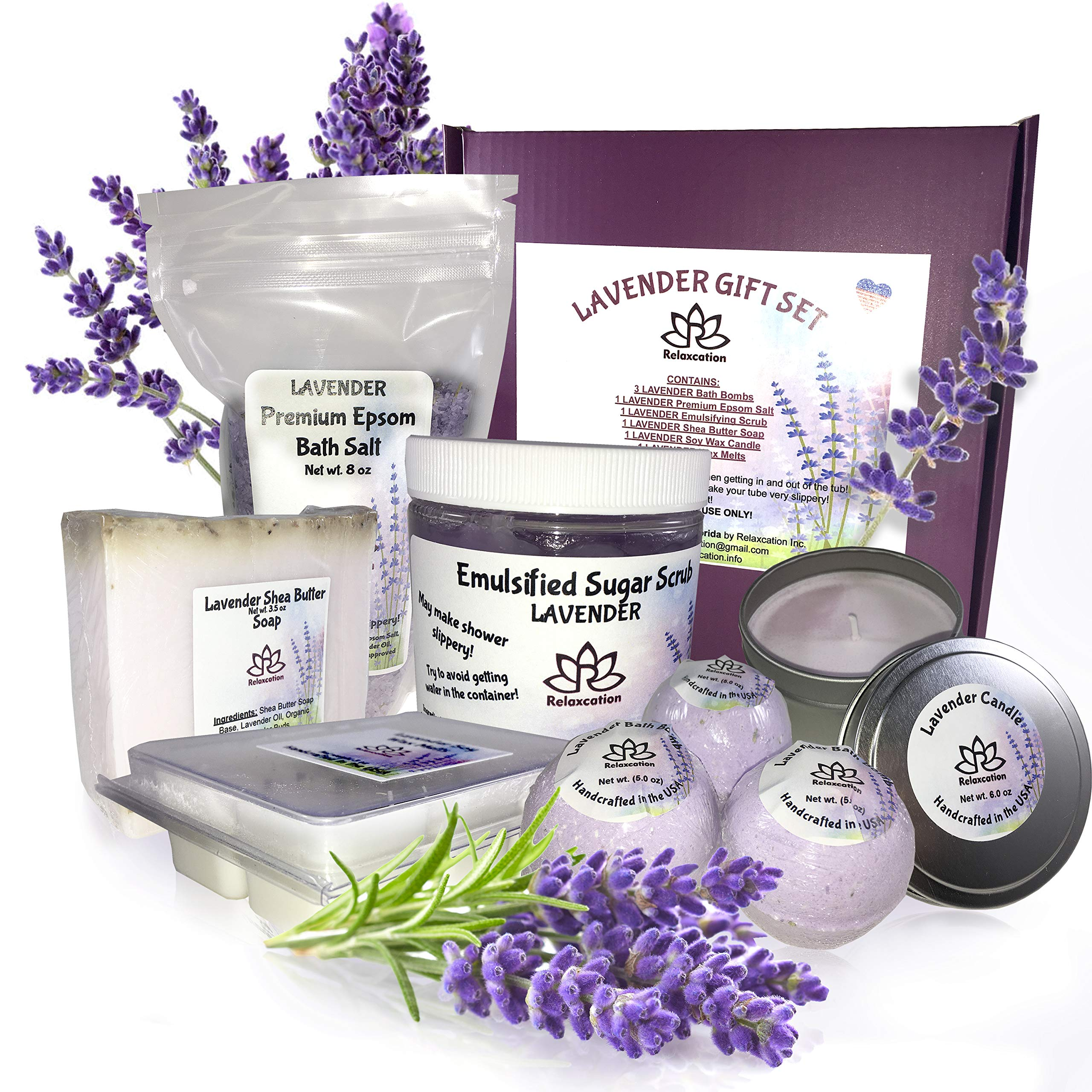 Lavender Gift Set For Women - All Natural Spa Basket - Soy Candles Organic Oil Bath Bombs Hand Soap Natural Body Sugar Scrub Best Holidays Gifts Kit Idea for Mom Girls Her Mother Grandma from Daughter
