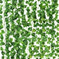 CEWOR 14 Pack (79 Inches Each) Fake Ivy Leaves Artificial Ivy Leaves Greenery Garlands Hanging Plant Vine with 50 Green Nylon Cable Ties for Wedding Party Garden Wall Decoration