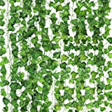 CEWOR 14 Pack 98 Feet Fake Ivy Leaves Artificial Ivy Leaves Greenery Garlands Hanging Plant Vine for Wedding Party…