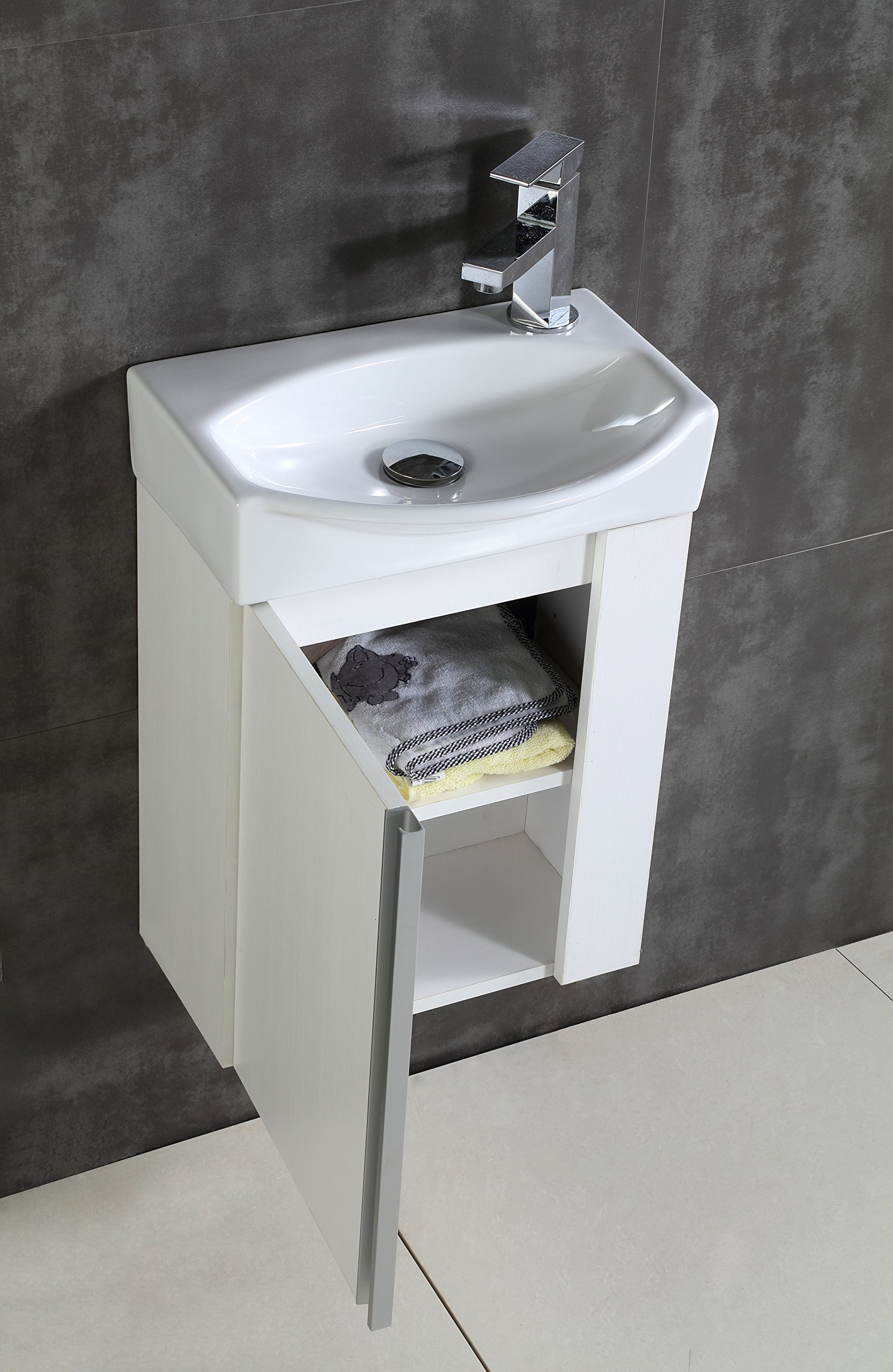 Fine Fixtures Compacto Small Bathroom Vanity Set With Sink -Wall-Hung Cabinet- Sink top, And Mirror Included (White) - COMPACTO VANITY is designed to fit in smaller size bathroom, has enough place to storage your oil and powders, -2 shelves and a single door included- !! Choose one of our 3 beautiful colors BLACK WALNUT, WHITE, GRAY TAUPE. Dimensions of Cabinet with sink top on it- 16 3/8 W x 8 5/8 D x 22 3/4 H. Wall hung bathroom vanity cabinet, Vitreous China sink and mirror included. (Medicine cabinet Not included). - bathroom-vanities, bathroom-fixtures-hardware, bathroom - 91r%2BgHah5wL -