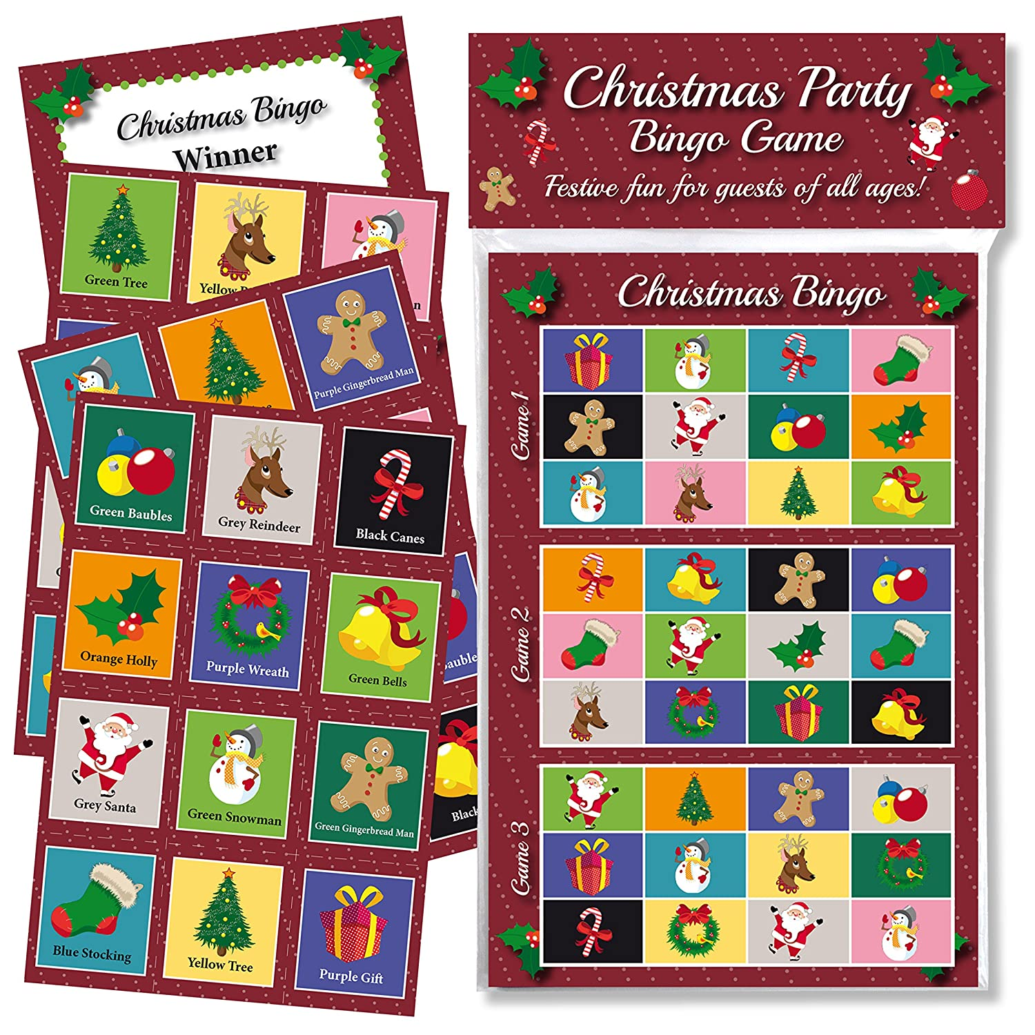 Christmas Party Game For Kids: CHRISTMAS PARTY BINGO GAME: FUN & GAMES FOR FAMILY, OFFICE
