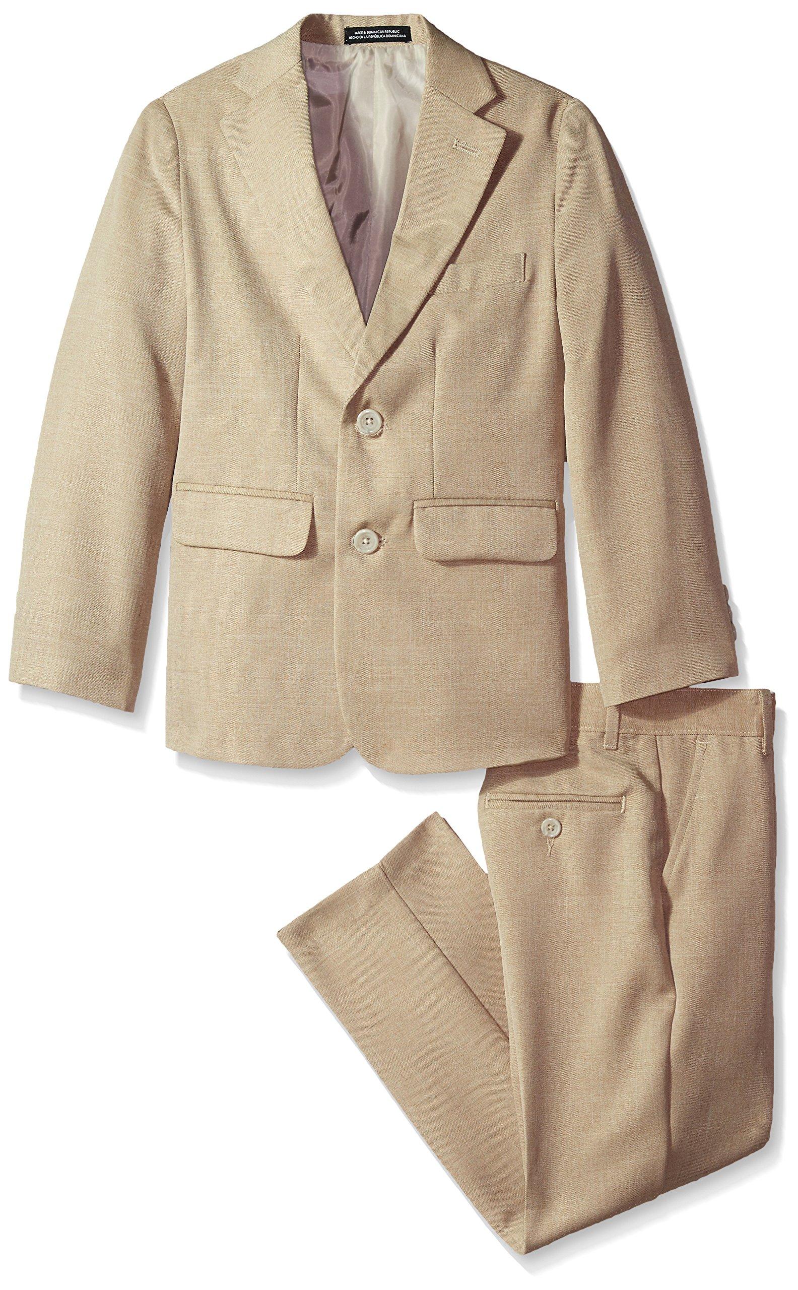 Van Heusen Big Boys' Cross Dyed Solid 2 Pc Suit, Brown, 8