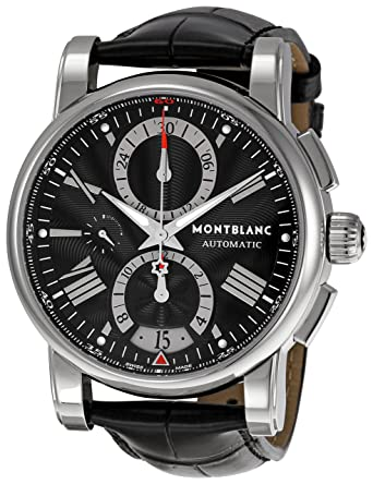13734c66845 Image Unavailable. Image not available for. Color: Montblanc Men's 'Star' Automatic  Stainless Steel and Leather Dress Watch ...