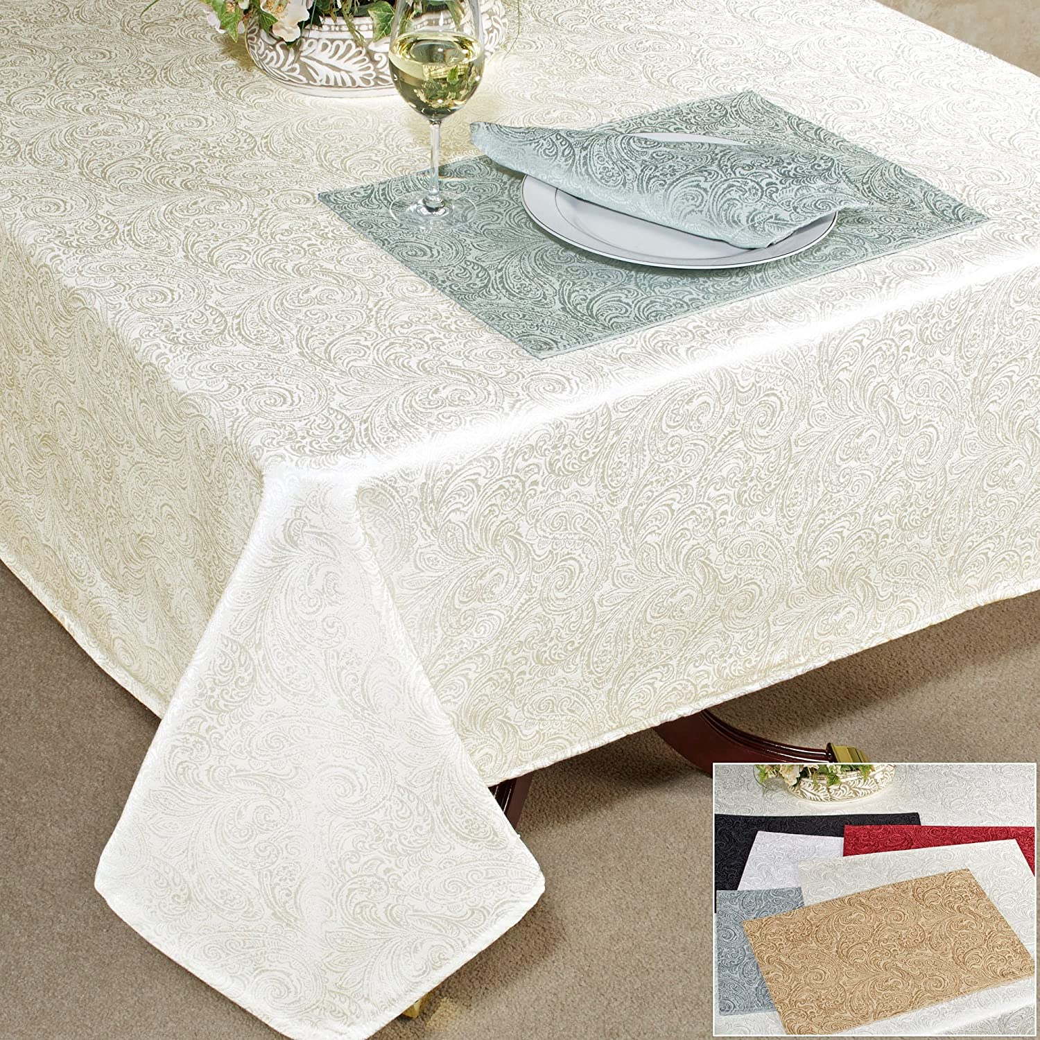 "Amazon Waterford Chelsea 70"" x 84"" Tablecloth Home & Kitchen"