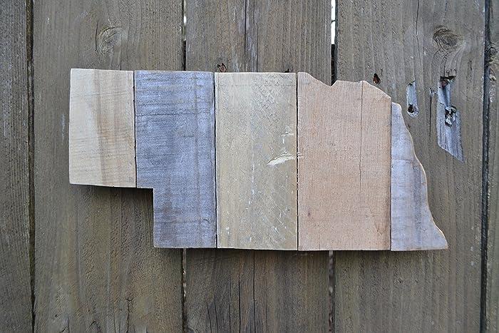 Nebraska Rustic Wood State Shape Cutout Sign Wall Art Customizable