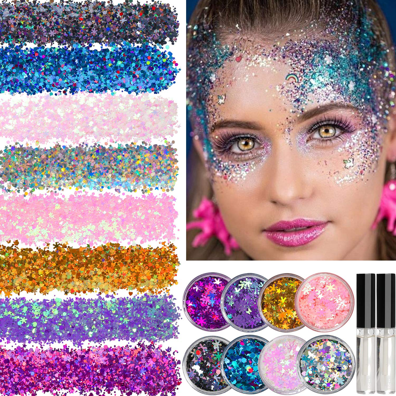 8 Jars of Cosmetic Chunky Glitter Shimmer Body Face Hair Eye Musical Festival Carnival Dance Halloween Party Beauty Makeup Temporary Tattoos Multicolored  40g 1 4oz  FREE Quick Dry Glitter Glue 10ml