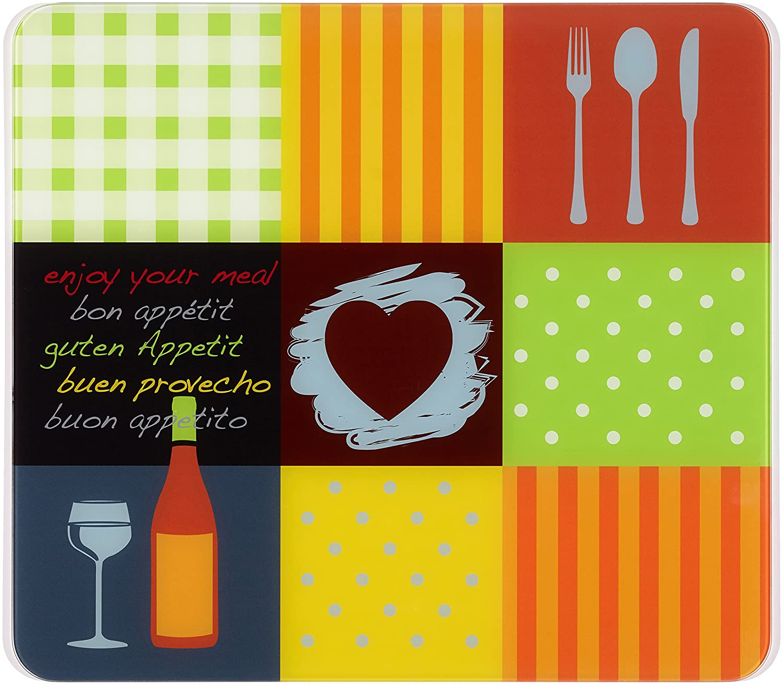 Geh/ärtetes Glas Mehrfarbig Schneidbrett 50 x 0.5 x 56 cm f/ür Glaskeramik Kochfelder WENKO 2712961500 Multi-Platte Guten Appetit