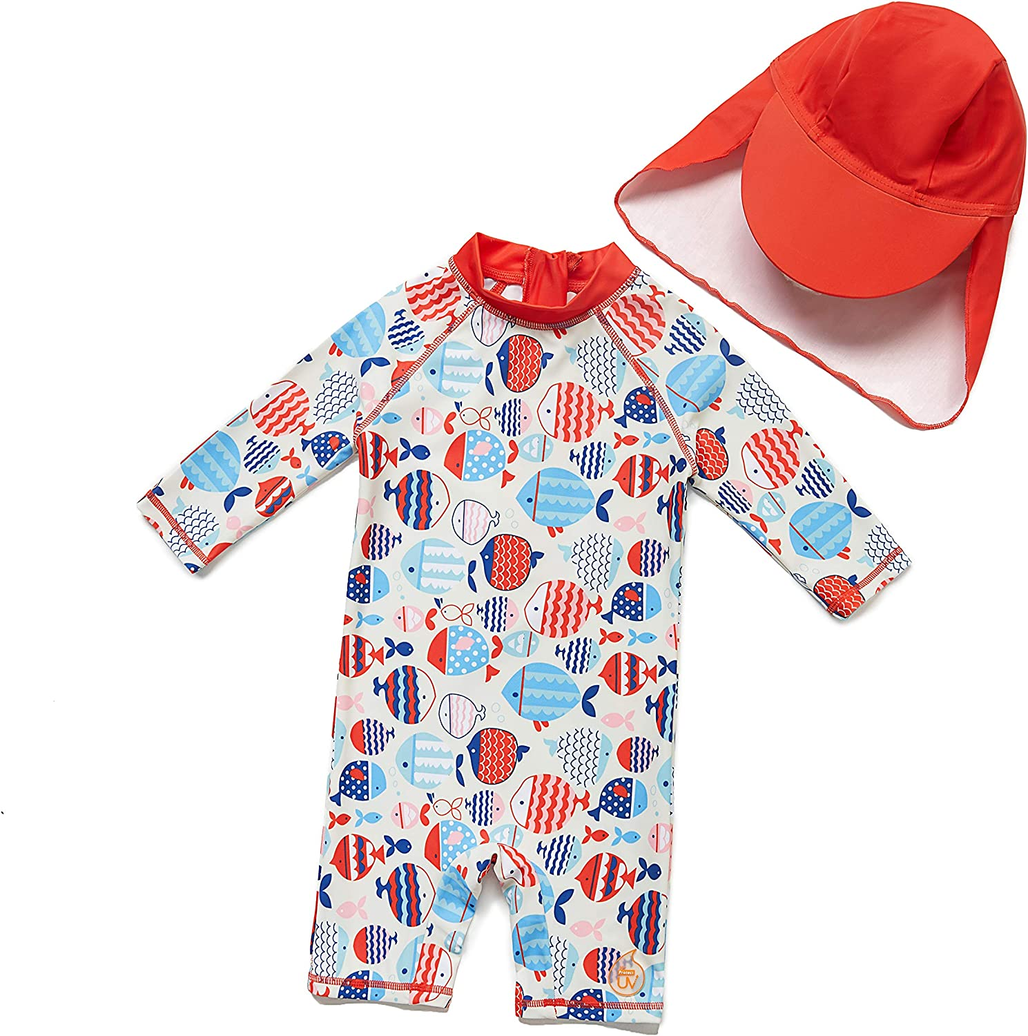 Sun Protection 3//4 Sleeve Two Piece Swimsuit with Sun hat BONVERANO Big Boys/&Toddler Sunsuit UPF 50