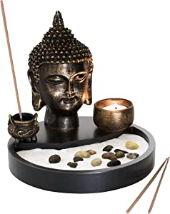 MyGift Buddha Head Statue Tabletop Zen Garden Kit with Incense Burner and Tealight Candle Holder