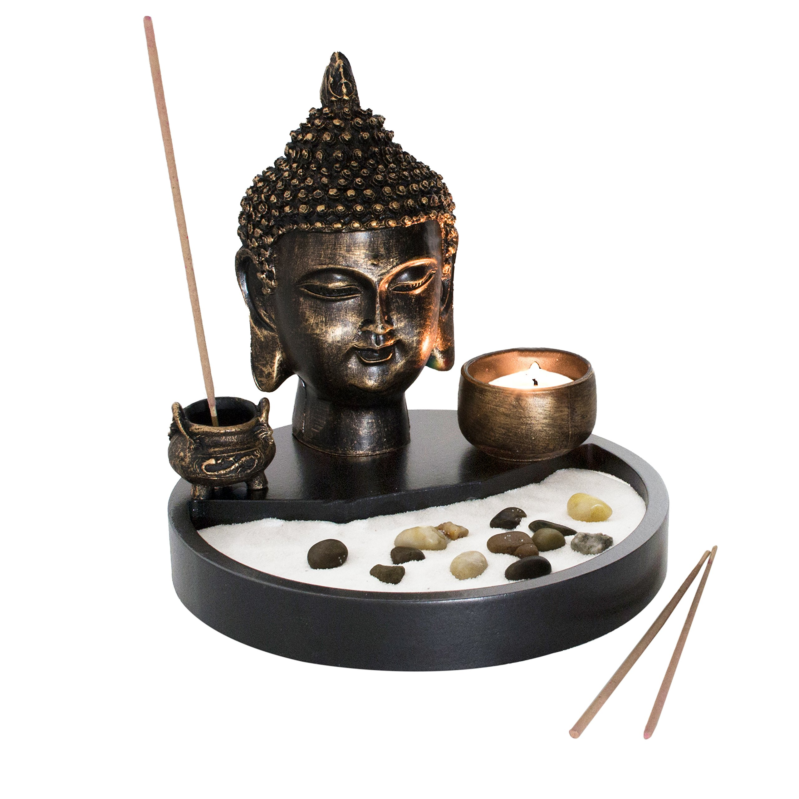 Buddha Head Statue Tabletop Zen Garden Kit with Incense Burner and Tealight Candle Holder by MyGift