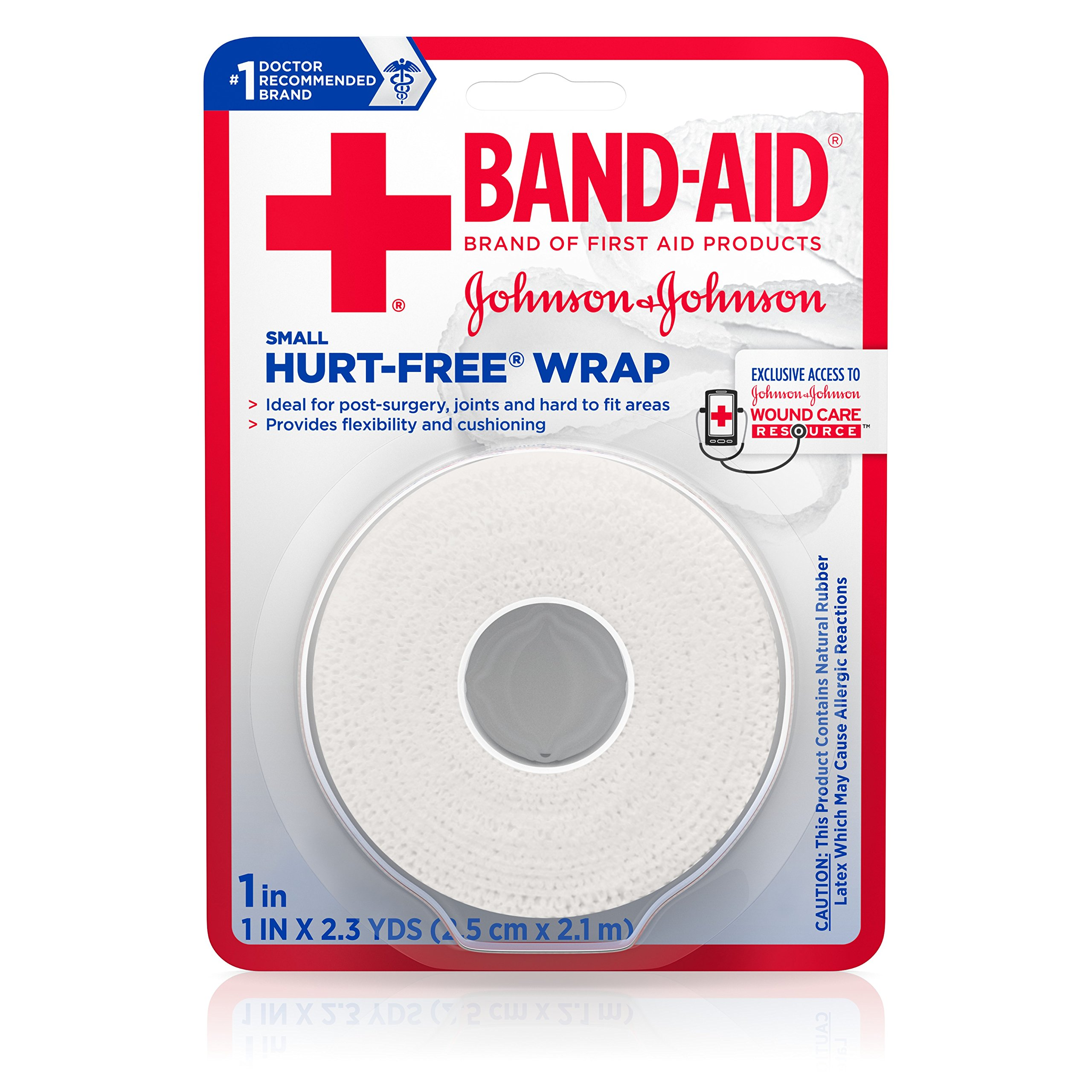 Band-Aid Hurt-Free Wrap For Securing Dressings On Post-Surgical Wounds, 1 Inch By 2.3 Yards, Small (Pack of 6)