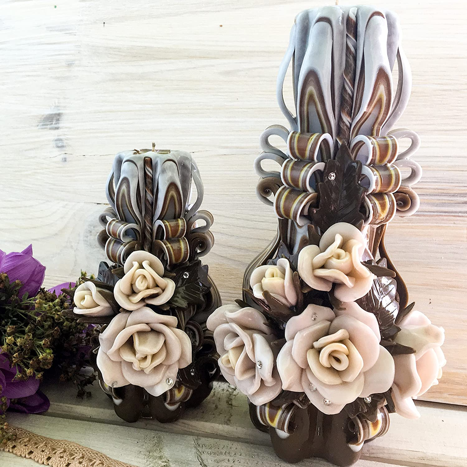 Carved candles Chocolate - gift for her - gift for mom - candle brown - decoration andles for interior - beige candles - white brown candles - Christmas gift