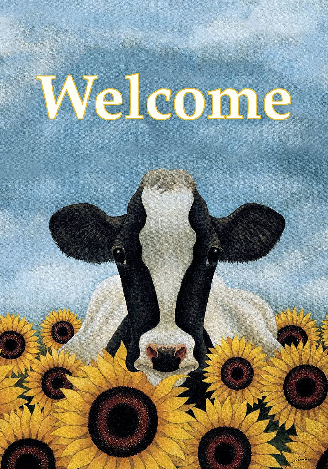 """LANG - Large Garden Flag -""""Surrounded by Sunflowers """", Exclusive Artwork by Lowell Herrero - All-Weather, Fade-Resistant Polyester - 28"""" w x 40"""" h"""