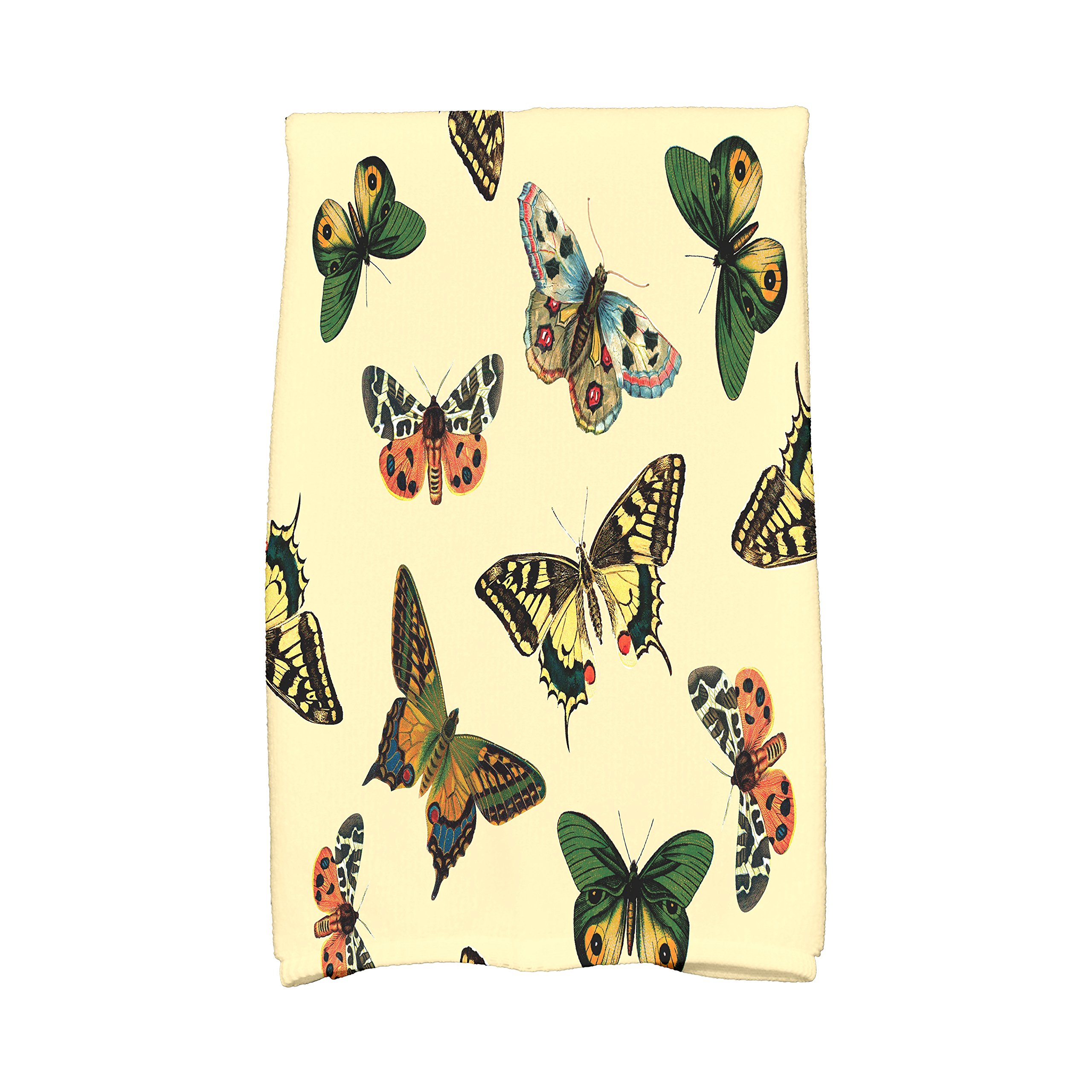 E by design KTAN491YE2 Butterflies Animal Print Kitchen Towel, 16'' x 25'', Yellow