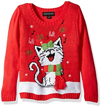 blizzard bay girls little happy kitty xmas sweater red combo - Girls Christmas Sweater