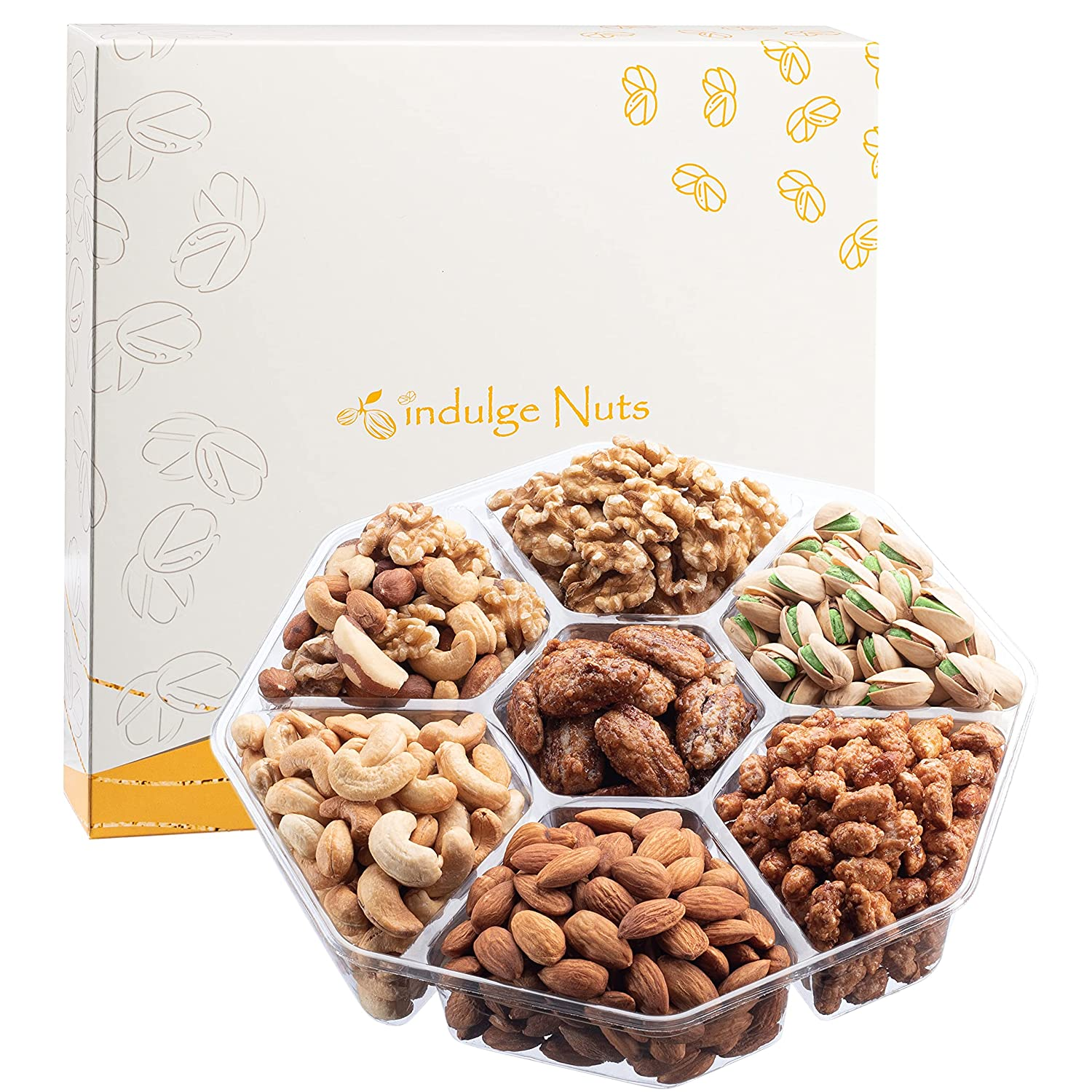 [2 Pounds] Fathers Day Gourmet Nut Gift Basket by Indulge Nuts | 7 Scrumptious Varieties of Fresh Nuts Tray | Kosher Snack Box Care Package for Thanksgiving, Holiday, Easter, Birthday, Mothers Day
