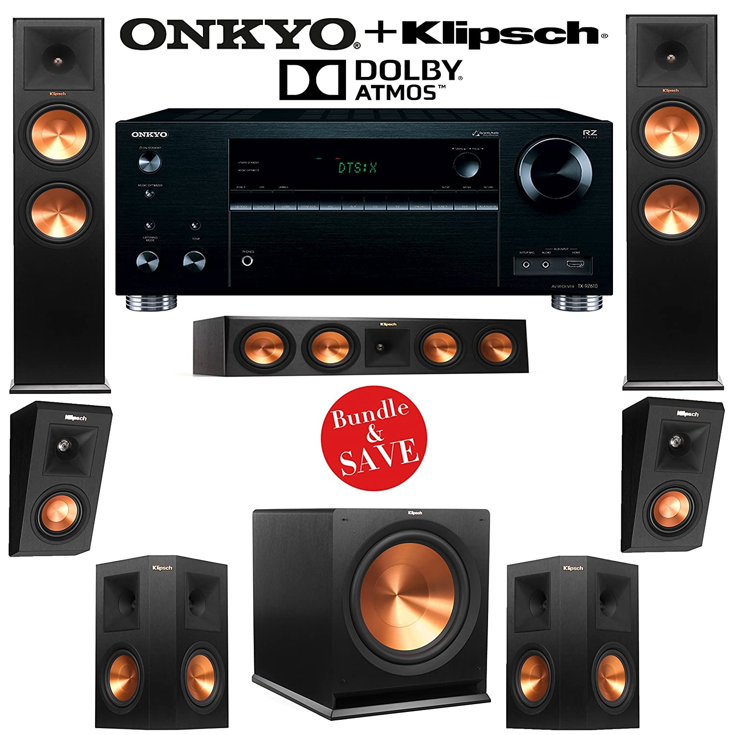 klipsch home theater speakers. amazon.com: klipsch rp-280f 5.1.2 dolby atmos home theater system with onkyo tx-rz710 7.2-ch network a/v receiver: audio \u0026 speakers r
