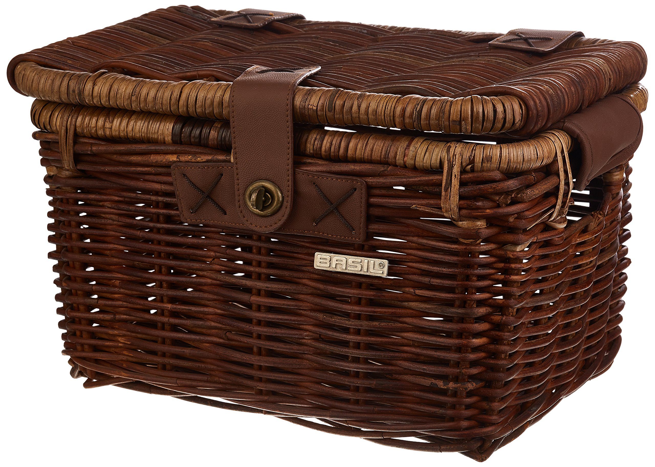 Bell Basil Denton Small Wicker Bicycle Basket with Lid, Nature Brown