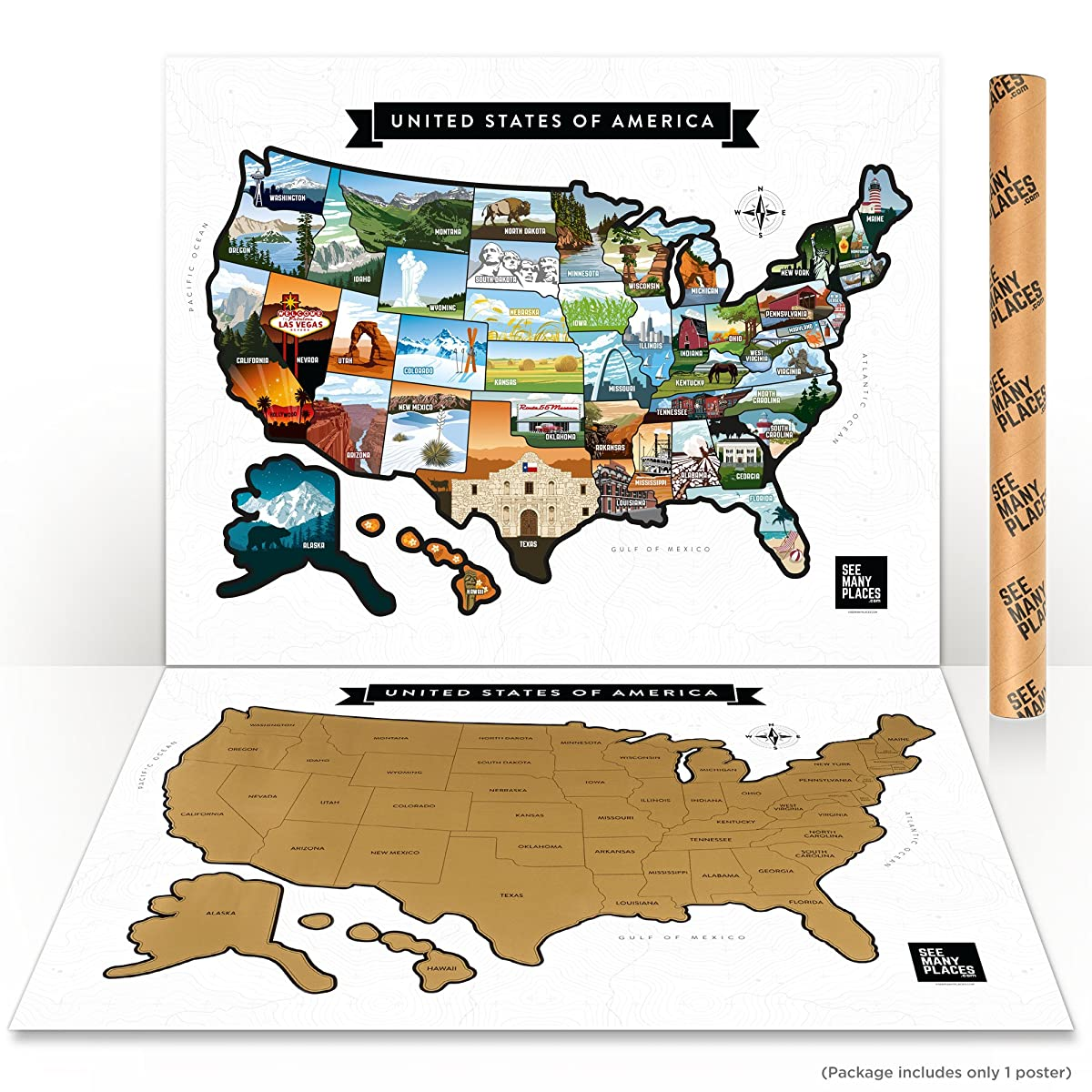 """Scratch Off US - USA Map - United States Travel Road Trip Tracker Frameable Premium 28x22"""" Poster - Custom Illustrated States"""